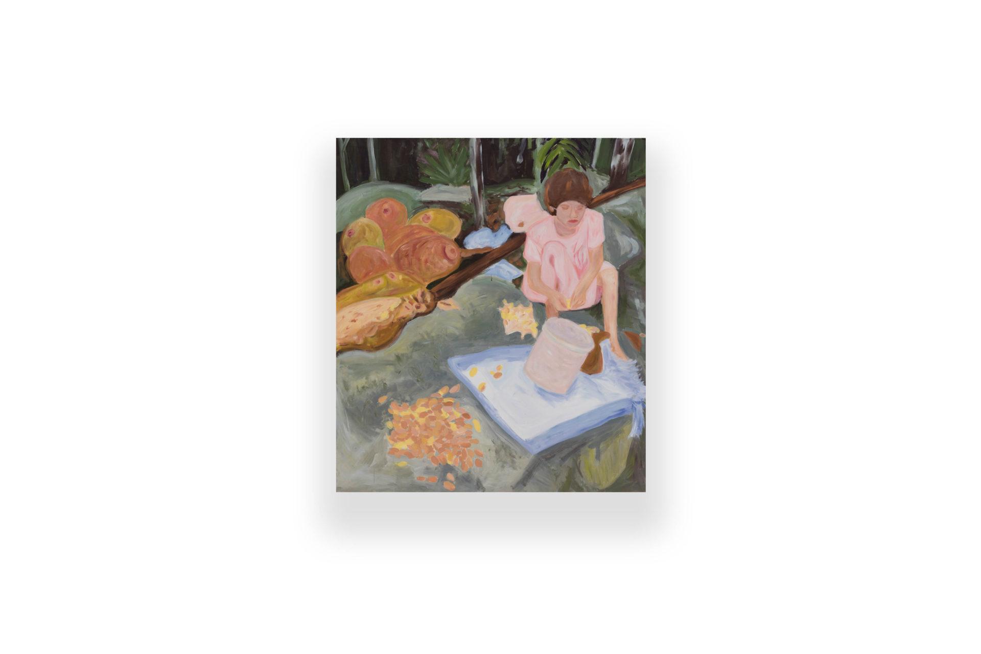 Girl with Jackfruits | acrylic on canvas - akryl na plátne | 180 x 160 | 2016