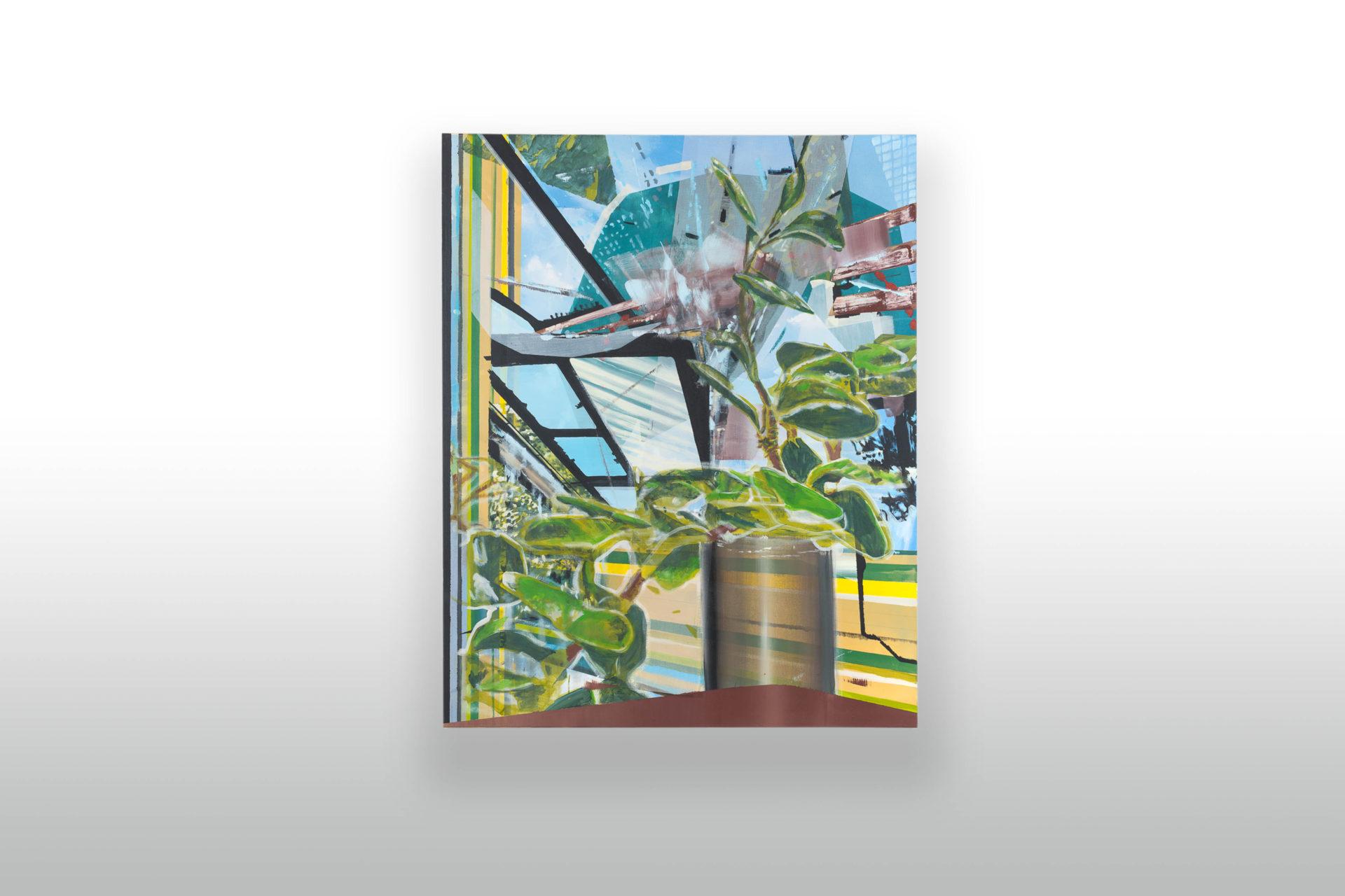 Mono Flower Still Life | zo série Square To Substance | akryl na plátne a sieťke | 120 x 150 | 2017